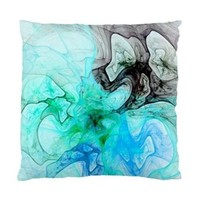 Blue And Turquoise Dreams Fractal Throw Pillow Cover Case 17 Inch 1-Sided