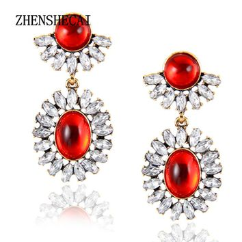 Red Crystal Wedding Long Earrings for Bride Silver Color Rhinestone Bridesmaid Brincos Party Prom Jewelry  e0241