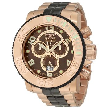 Invicta 10769 Men's Sea Hunter MOP Brown Dial Rose Gold Steel Bracelet Chronograph Dive Watch