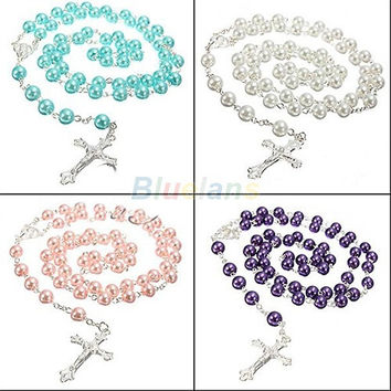 Long Rosary Chain Imitate Pearl Ball Beads Pendant Necklace Silver Drop Cross = 1946739908