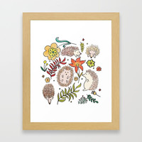 Hedgehog Field Framed Art Print by doucettedesigns
