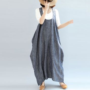 Women Summer Straps Sleeveless Solid Baggy Backless Long Dungarees