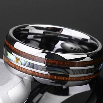 Tungsten/koa with mother of pearl Ring Inlay