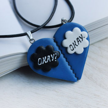 The Fault In Our Stars- 'Okay Okay' Best Friend Necklace- Okay/Okay Necklace Set