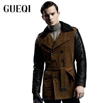 GUEQI Fur Collar Men Warm Woolen Jackets Size M-2XL Double Breasted Leather Patchwork Design Coats Man Casual Warm Outerwear