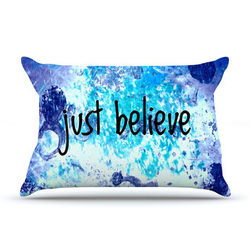 "Ebi Emporium ""Just Believe"" Blue Purple Pillow Case"