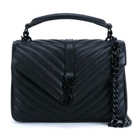 SAINT LAURENT | Quilted Leather Monogramme Shoulder Bag | brownsfashion.com | The Finest Edit of Luxury Fashion | Clothes, Shoes, Bags and Accessories for Men & Women