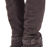 Tall Grey Suede Sparkling Strappy Boot