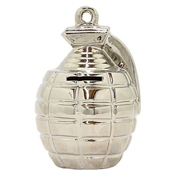 """Three Hands 6.25 """" Silver - GRENADE MONEY BANK-SILVER 
