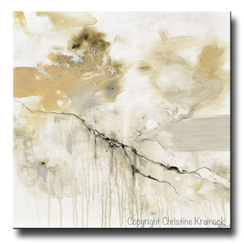 GICLEE PRINT Art Abstract Grey White Painting Coastal Modern Neutral Beige Taupe Gold Home Decor Wall Art Canvas