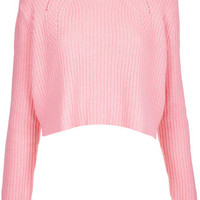TOPSHOP Knitted Ribbed Crop Jumper