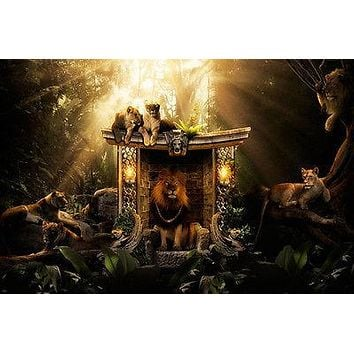 DEN OF LIONS poster WILD majestic playful languid BRIGHT LIGHT jungle 24X36