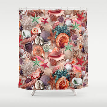Seashells And Starfish Shower Curtain by DMiller | Society6