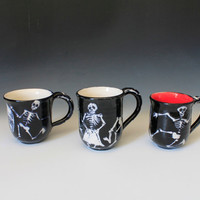 Day of the Dead Cup, Black and White Cup, Dancing skeletons, Skeletons Cup, Halloween, Dia De Muerte