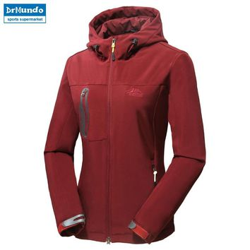 Women soft shell hiking jacket Cross country waterproof elasticity jacket windproof outdoor clothing women Mountaineering jacket