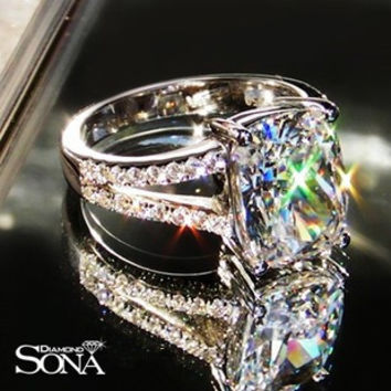 luxury Wedding Ring 3.85 carat cushion cut sona Synthetic Diamond engagement rings for women,925 sterling silver promise ring