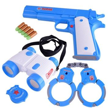 Blue Senior Police Toy For Children Baby Boy Set Simulation Police Handcuffs Telescope Pistol Bullet Pretend Play Toy for Boys