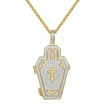 Coffin Skeleton Grave Iced Out Charm Necklace