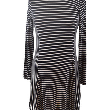 Black & White Striped Long Sleeve Dress by Old Navy