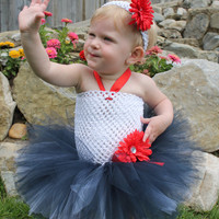 Nautical White Navy Red tutu dress flower girl photo prop baby tutu set first birthday outfit baby shower 0-3-6-9-12-18-24 2T 3T 4T 5T