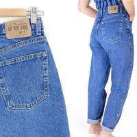"Vintage 90s GAP High Waisted Women's Mom Jeans - Size 8 - Baggy Loose Reverse Fit Tapered Blue Jeans - 29"" Waist"