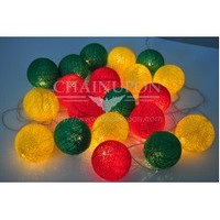 Rasta Reggae - Red Yellow Green Cotton Balls String Lights