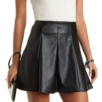 Paneled Faux Leather Skater Skirt by Charlotte Russe - Black