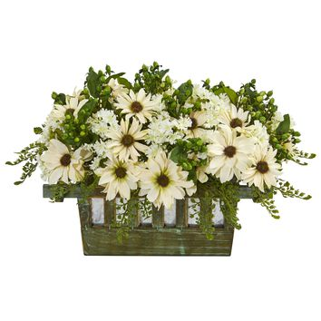 Artificial Flowers -Daisy Arrangement in Decorative Planter