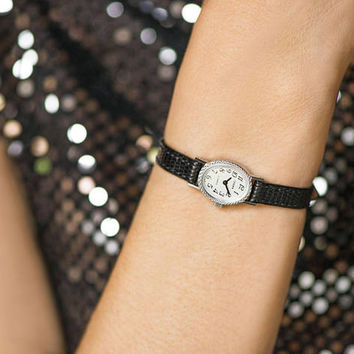 Oval women's watch small vintage, tiny watch Seagull silver shade, lady watch retro, mechanical women watch gift, premium leather strap new