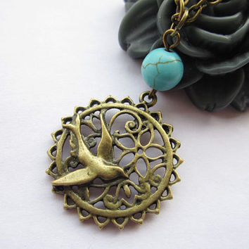 necklaceantique bronze swallow and Blue Turquoise & by lightenme