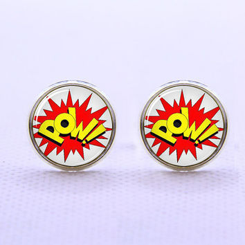 Pow  Cufflinks  -Mens Silver Plated Cufflinks,Accessoires for Man-Mens Gift ,Gift for Daddy ,Best Man