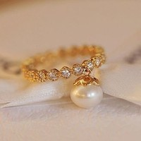 Dangling Pearl on Rhinestone Ring (Gold) - LilyFair Jewelry