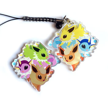 Eeveelutions Jolteon Vaporeon Flareon Acrylic Shiny Charm - Double-Sided Pokemon Keychain