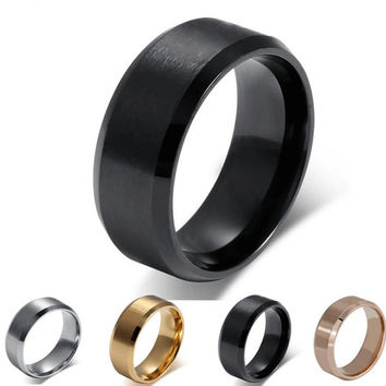 Hot Sale Simple High Quality 18K Gold-Plated Titanium Steel Men Rings 8MM Wide Surface Atmosphere Wedding Fashion Assessary