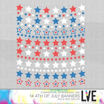 4th of July Red White & Blue Star Bunting Banners Clip Art, Images, Graphics, Digital Clipart Commercial or Personal Usage-Instant Download