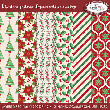 Christmas patterns, layered pattern overlays , PSD template, digital paper templates, overlays, Christmas PSD template, PT382