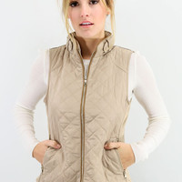 Mystic Forest Taupe Quilted Puffer Vest With Contrast Trim