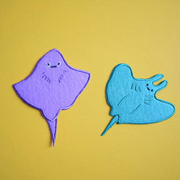 Best Buds Rays - teal and purple cute best friends iron on patches - sea creatures