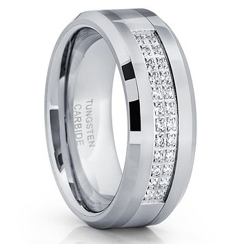 Men's Tungsten Wedding Band - Silver Tungsten Ring - 8mm - Tungsten Ring