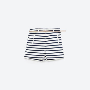 STRIPED BERMUDA SHORTS WITH BELT - SHORTS-WOMAN | ZARA United Kingdom