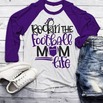 Men's Football Mom Raglan 3/4 Sleeve Rockin The Football Mom Life Game Day Shirts