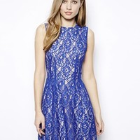 Oasis High Neck Lace Dress - Blue