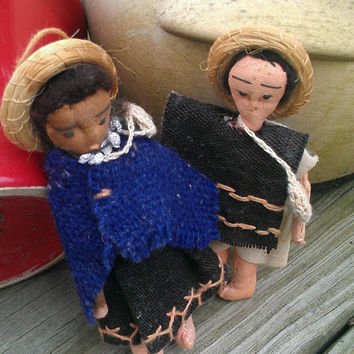 Vintage Souvenir Dolls-Rustic-Western-Mexican-collectible-Free shipping to US only