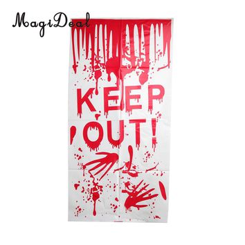MagiDeal Delicate Plastic Bloody KEEP OUT Handprint Window Door Clings for Horror Halloween Party Christmas Holiday Decoration
