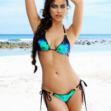 Beach Bunny Swimwear MERMAID SEQUIN TRIANGLE TOP & TIESIDE BOTTOM - Swimwear Shop By Collection Signature Swimwear