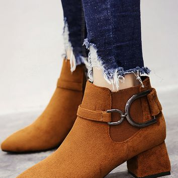 Brown Faux Suede Pointed Toe Ankle Boots