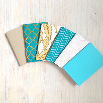 Notebooks: Tiny Journal Set of 6, Blue, Gold, Wedding, Favors, Stocking Stuffer, For Her, For Him, Gift, Unique, Mini Journals, Kids, T039