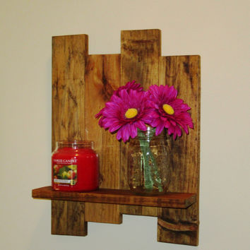 Reclaimed wood shelf, pallet wood shelf, wall shelf, Stained Wood Shelf, Candle holder