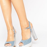 Terry de Havilland Coco Denim Platform Heeled Sandals at asos.com