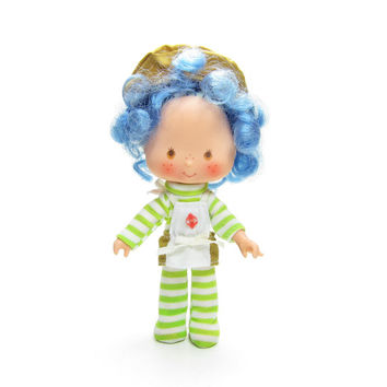 Crepe Suzette Doll Vintage Strawberry Shortcake Friend with Blue Hair, Striped Outfit, Apron